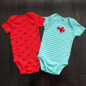 2 Pekkle 3-6 Month Airplane Bodysuits